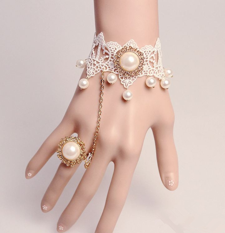 Fashion Gothic Bracelets Ring Set Graceful Lace Bracelet